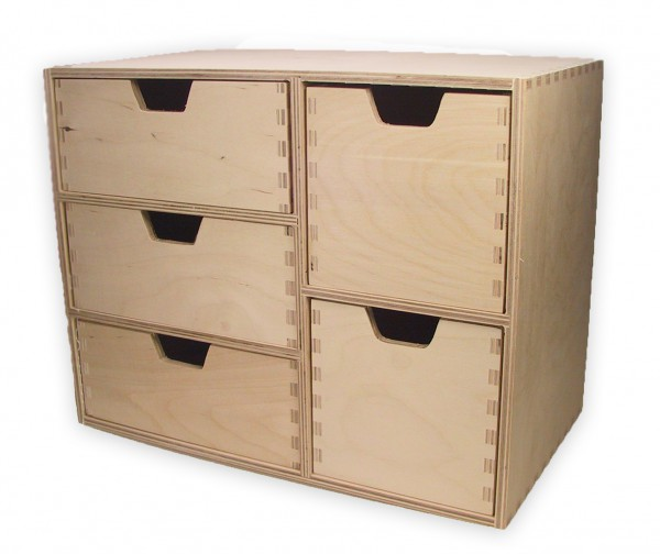 schubladen regal schubladen kommode mit 5 schubladen holz unbehandelt ebay. Black Bedroom Furniture Sets. Home Design Ideas
