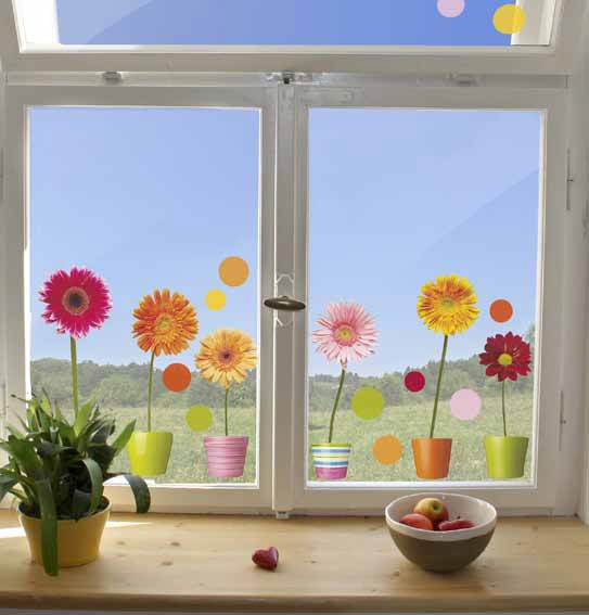fenstersticker fensterfolie gerbera bunte punkte 2 bl 31x31 cm dekorfolien f r fenster. Black Bedroom Furniture Sets. Home Design Ideas