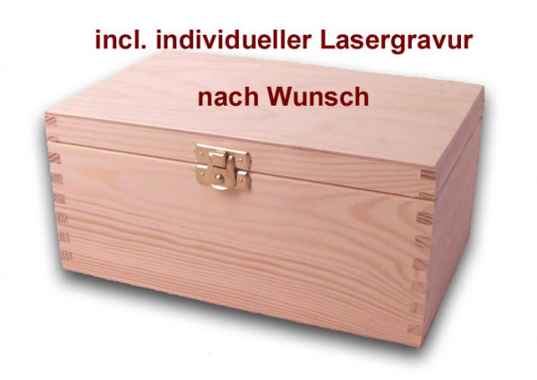 holz schatulle holzkiste schatzkiste kiefer unbehandelt incl lasergravur lasergravur holzartikel. Black Bedroom Furniture Sets. Home Design Ideas