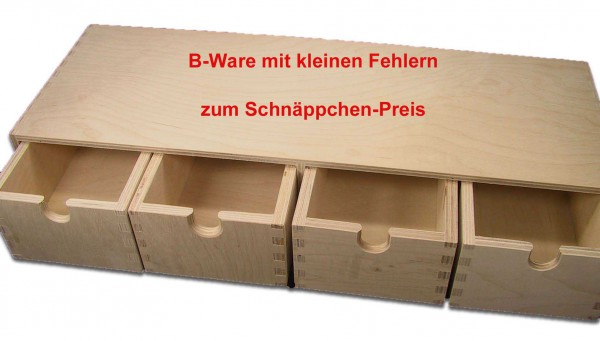 b ware stabiles schubladen regal wandregal mit 4 schubladen holz unbehandelt ebay. Black Bedroom Furniture Sets. Home Design Ideas